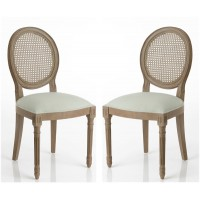 Pack 2 sillas de comedor clásicas caoba tapizado verde claro 50x56x98h cm