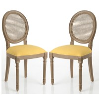 Pack 2 sillas de comedor clásicas caoba tapizado color mostaza 50x56x98h cm