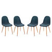 Pack 4 sillas de comedor patas metálicas tapizado azul bustelo 44x52x86,5h cm