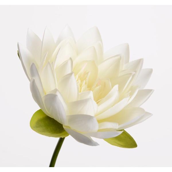 Flor de loto artificial blanca Lotus Nelumbo 74h cm