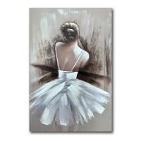 Lienzo cuadro chica bailarina de espaldas con tutu blanco 80x120h cm