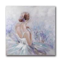 Lienzo cuadro chica bailarina de espalda tonos azules y lilas 100x100 cm