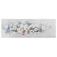Lienzo cuadro apaisado flores blancas pinceladas naranjas, azules y verdes 150x60h cm