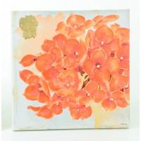 Cuadro lienzo flor naranja Corazón 2 modelos 60x60 cm