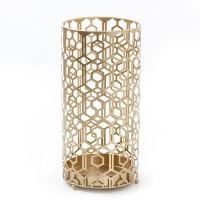 Paraguero redondo metal dorado figuras geométricas Ø24xh48 cm