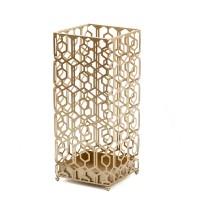 Paraguero cuadrado metal dorado figuras geométricas 25x25xh49 cm