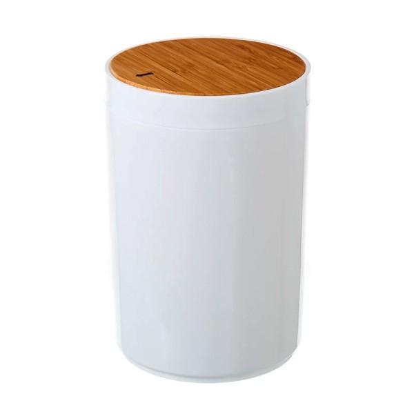 Papelera de baño blanca poliestireno con tapa de madera bambú 5 litros