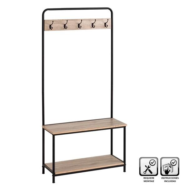 Mueble entrada con banco y perchero estilo industrial 80x32x171h cm