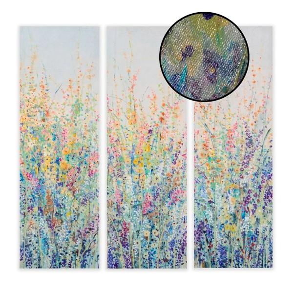 Lienzo cuadro vertical flores tonos lilas, amarillos y rosas 3 modelos 30x90h cm