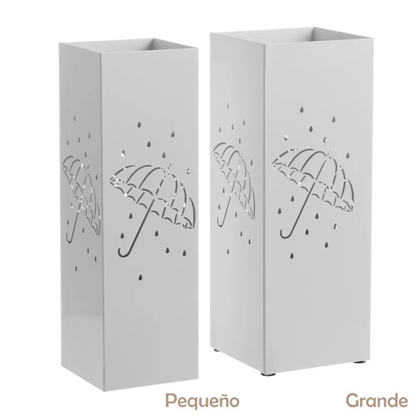 Paragüero metálico cuadrado paraguas y gotas blanco grande 18x18x49h cm
