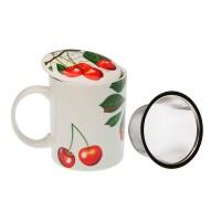 Taza infusión porcelana con tapa y filtro cerezas con hojas Cherries 8x10h cm
