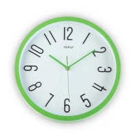 Reloj de pared marco verde fondo blanco 30cm