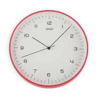 Reloj de pared marco rojo esfera blanca y numeros en negro 31,5 cm