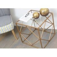 Mesa auxiliar cubo cuadrado metálico dorado y cristal 50x50x50h cm