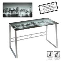 Mesa escritorio cristal templado Eternal City estampado en grises 120x60x75 cm