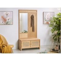Bengalero mueble de entrada madera y mimbre con perchero y almacenaje 2 puertas Sayumi 90x40x180h cm