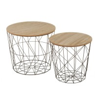Set 2 mesas auxiliares redondas estructura metálica y tapa madera 47x41h y 38x37,5h cm