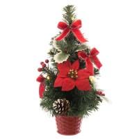 Arbol de Navidad decorado en Poinsettia roja y piñas en maceta 20x20x40h cm