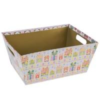 Cesta cartón con asas estampado regalos navideños 29,40x22,90x13h cm