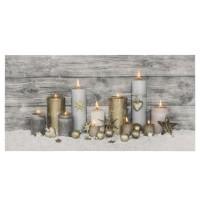 Cuadro lienzo de pared con luces leds estampado velas navideñas 60x1,80x30h cm