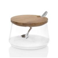 Azucarero cristal con tapa bambú y cuchara Ø8.5x5 cm 250ml