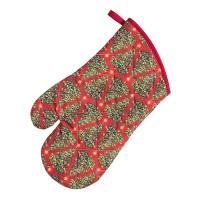 Guante para horno navideño rojo con estampado árboles de Navidad 20x30 cm