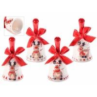 Campanilla cerámica con lazo rojo decoración navideña Reno Ø5x10h cm