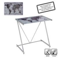Mesa escritorio cristal templado estampado gris mapa 80x50x79cm